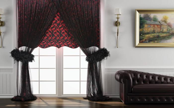 gardinenstoffe vorhangstoffe gardinen schwarz rot rankenmuster tüll ledersofa