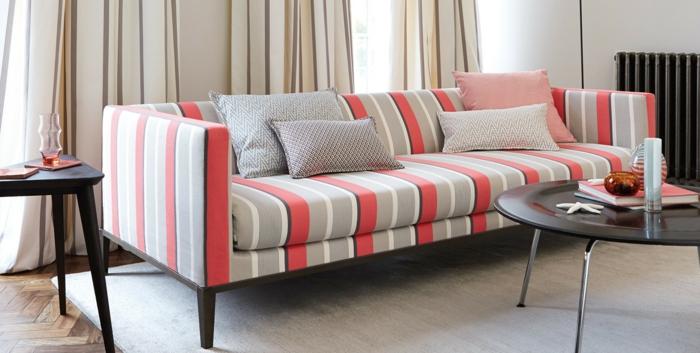 gardinenstoffe vorhangstoffe vorhänge naturfaser pastellfarben streifen modernes design couch dekokissen
