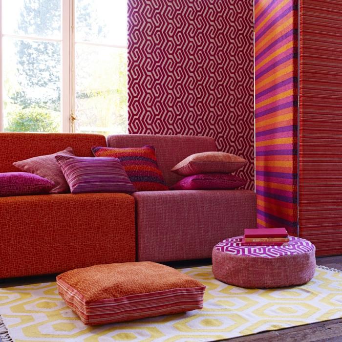 gardinenstoffe vorhangstoffe vorhänge warme farben naturfaser ethno stil muster kissen sofa