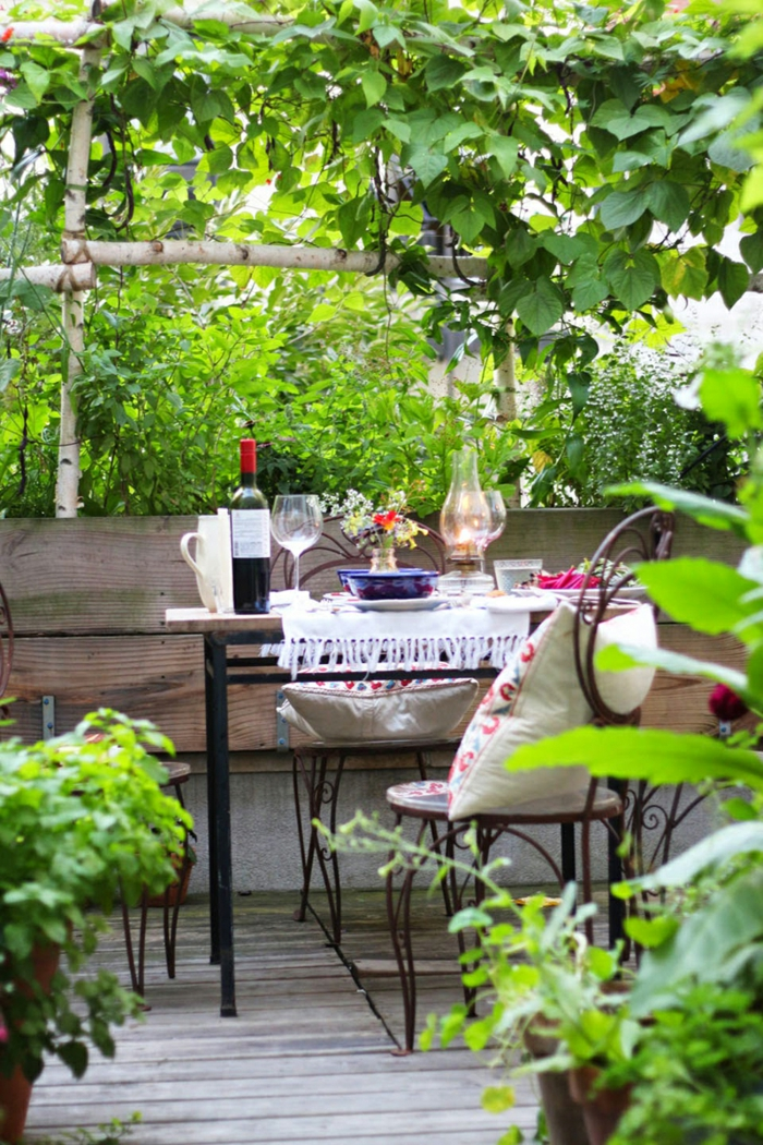 garten gestalten ideen balkon pflanzen balkonmöbel