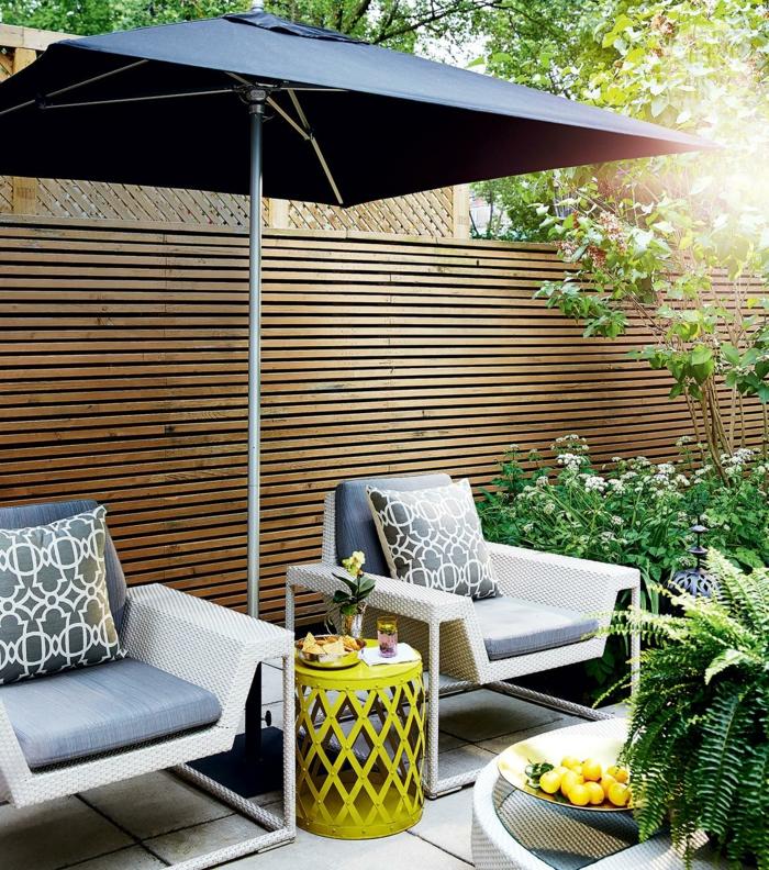 garten gestalten ideen city style pflanzen gartenmöbel sonnenschirm
