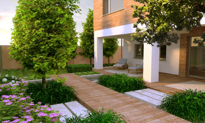 garten gestalten ideen city style pflanzen liegestühle moderner garten
