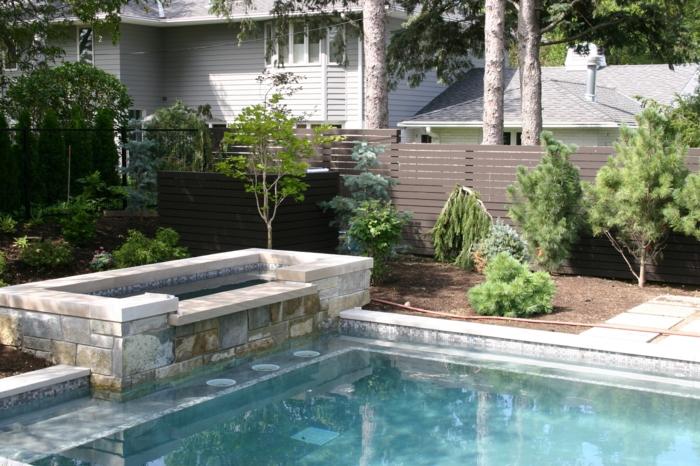 garten gestalten ideen moderner garten schwimmbad pflanzen