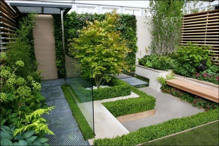 garten gestalten ideen moderner garten sitzbank pflanzen