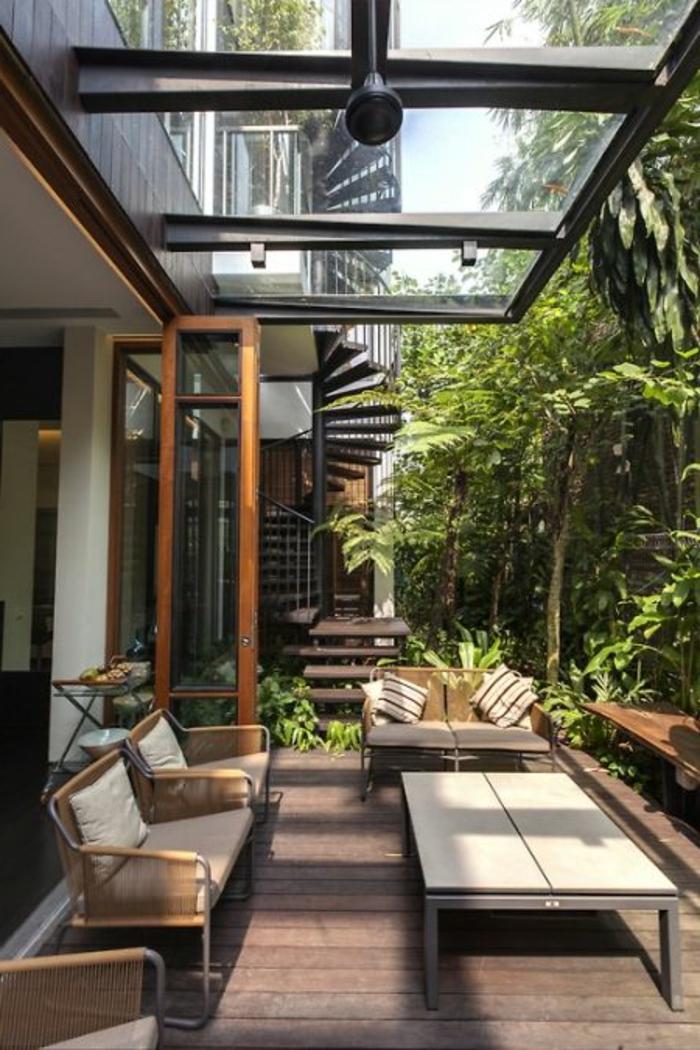 gartengestaltung ideen city style pflanzen stilvolle gartenmöbel