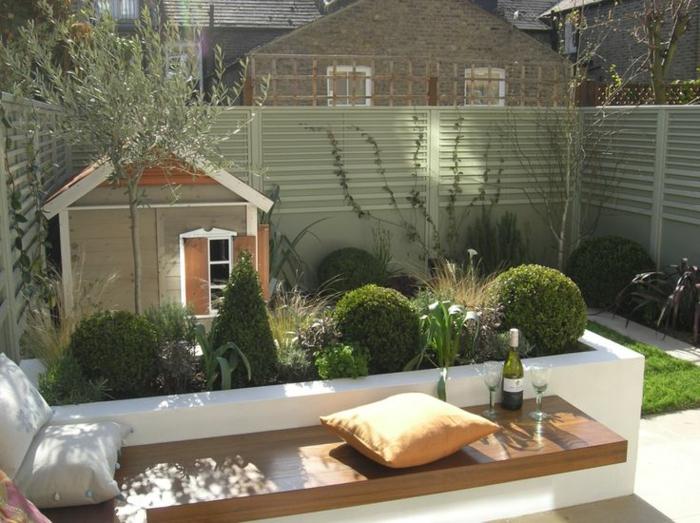 gartengestaltung ideen city style sitzbank pflanzen