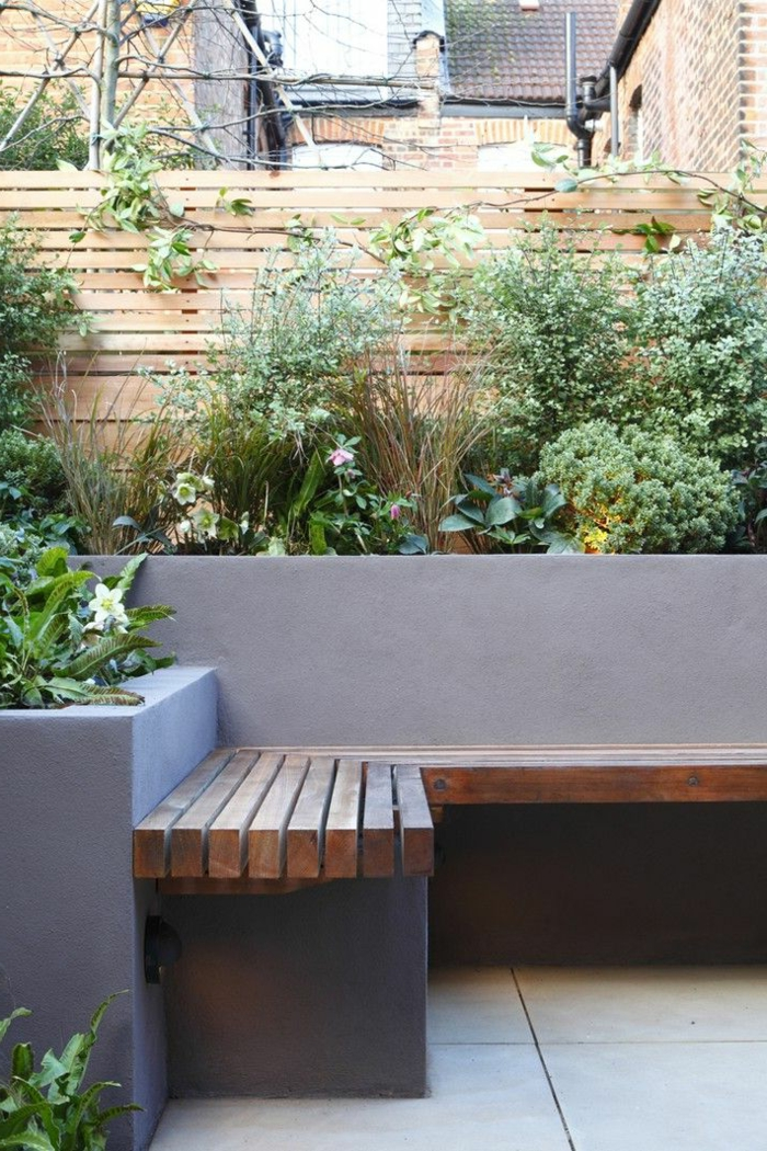 gartengestaltung ideen eckbank pflanzen gartenzaun