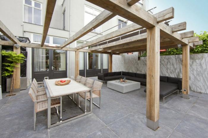 ideen gartengestaltung eleganter tisch außenbereich essbereich erholungsbereich