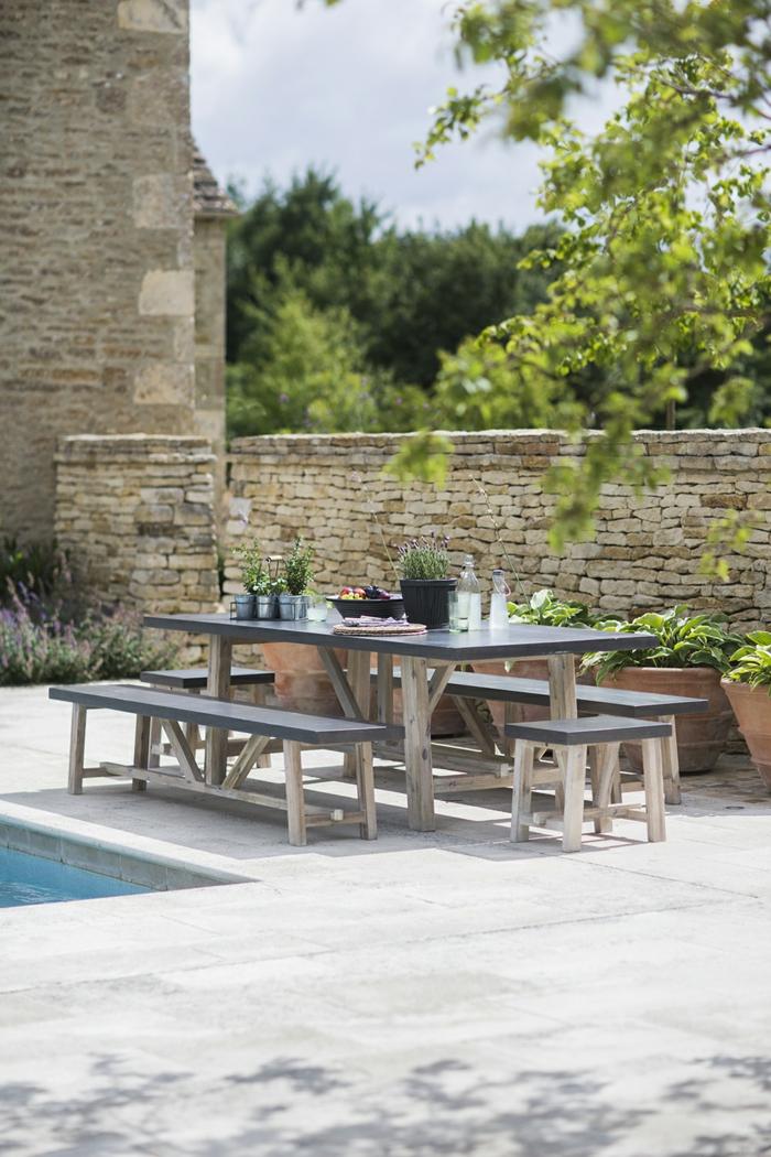 Gartentisch Sitzbänke Schwimmbad Gartengestaltung Ideen
