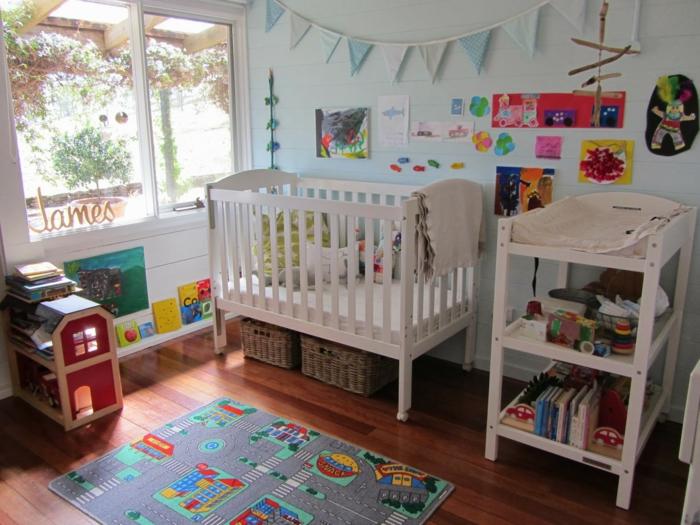 gestaltung kinderzimmer kinderteppich weiße kindermöbel kinderzimmerdeko