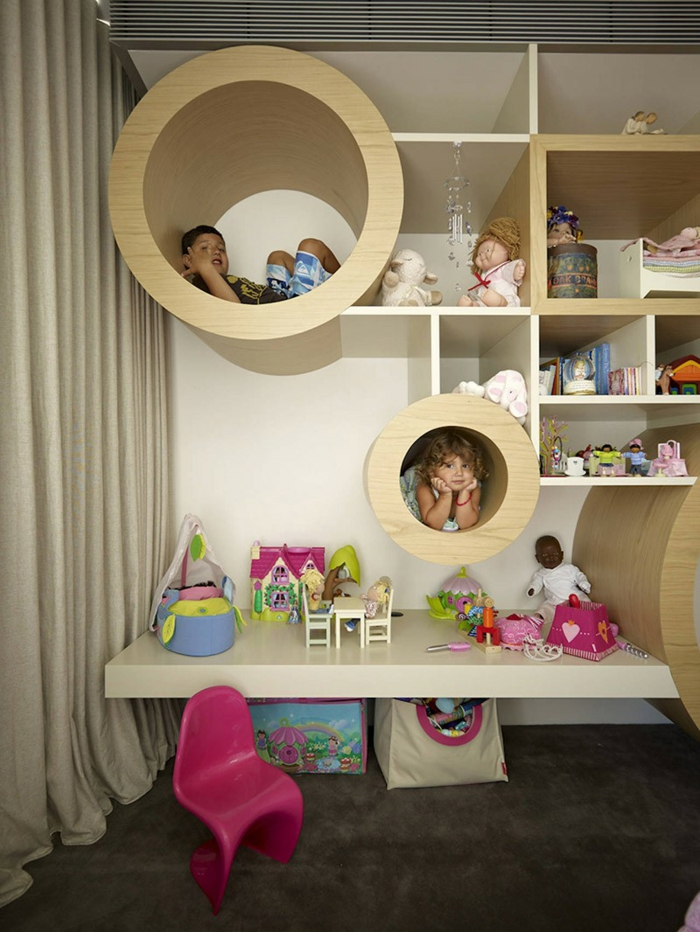 gestaltung kinderzimmer wandregale kinderzimmermöbel teppichboden