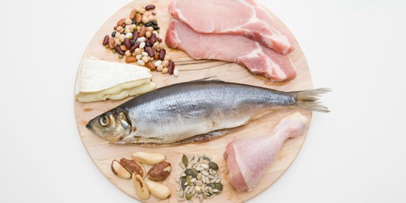 gute Proteinquellen pflanzliches Eiweiß Nahrungsmittel Fisch Fleisch Milchprodukte