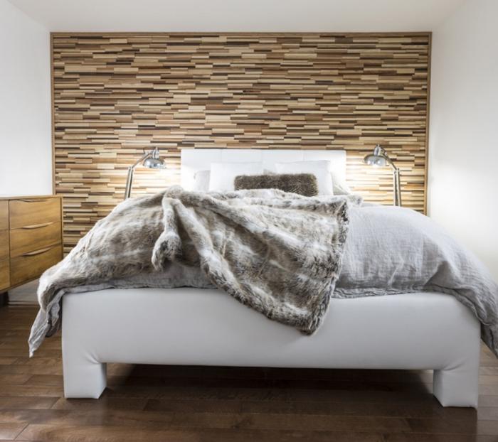 holz wandpaneele schlafzimmer akzentwand bodenfliesen weiße wände
