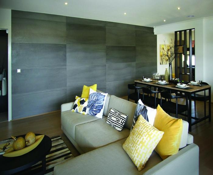 holz wandpaneele wandverkleidung wohnzimmer essbereich dekokissen