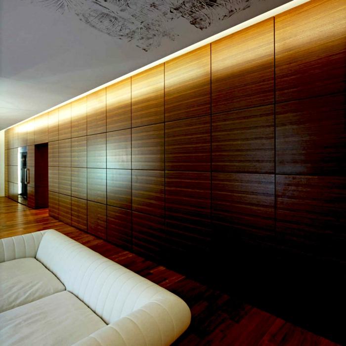 holz wandpaneele wandverkleidung wohnzimmer weißes sofa