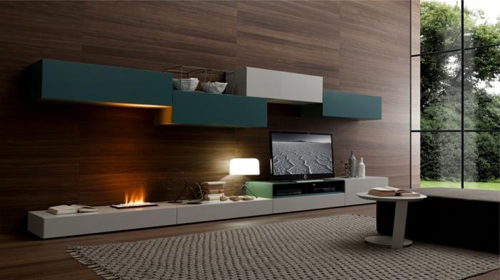Holz Wandpaneele Wandverkleidung Wohnzimmer Wohnwand Offene Feuerstelle