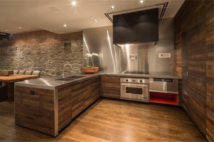 holz wandpaneele wohnideen küche steinwand wohnzimmer offener wohnplan