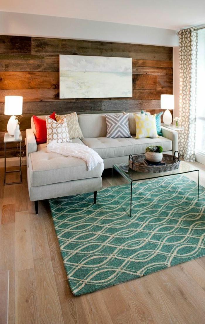 holz wandpaneele wohnzimmer wandgestalung frischer teppich vintage look