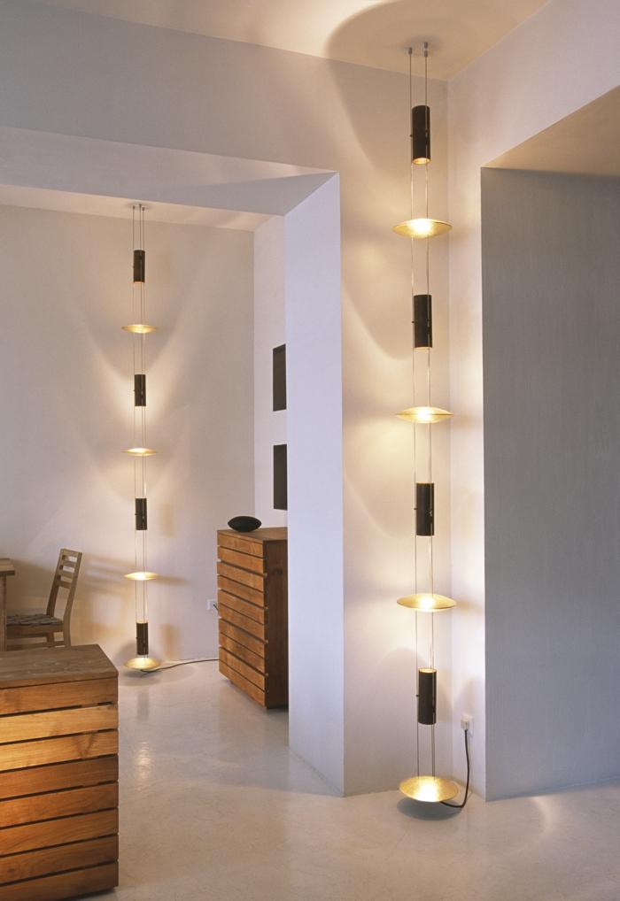 led indirekte beleuchtung decke dunkeles interior leuchte hängelampen