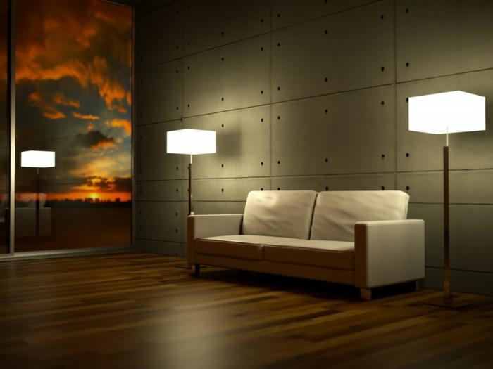 led indirekte beleuchtung decke dunkeles interior leuchte wandbeleuchtung stehlampen