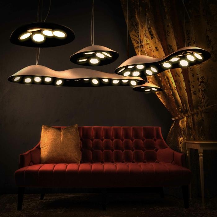 indirektes Licht led indirekte beleuchtung decke dunkeles interior leuchte wandbeleuchtung ufos