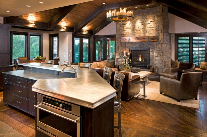 led indirekte abeleuchtung decke dunkeles interior wandgestaltung offene küche