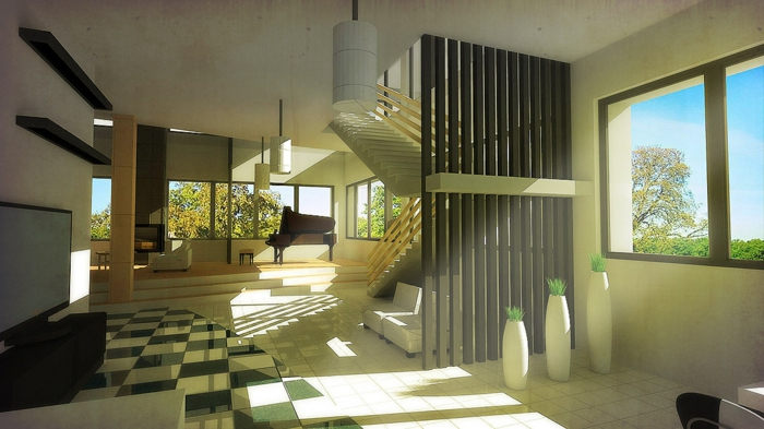 einrichtungsbeispiele raumgestaltung inneneinrichtung ideen inneneinrichten wohnideen loft stil backstein fachwerk offene minz gruen fluegel