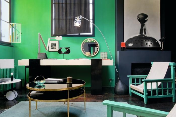einrichtungsbeispiele raumgestaltung inneneinrichtung ideen inneneinrichter wohnideen loft stil bauhaus schwarz gruen