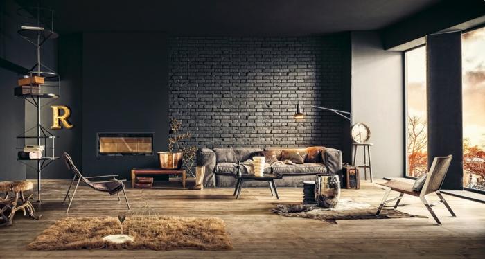 einrichtungsbeispiele raumgestaltung inneneinrichter wohnideen loft stil mauer stahlmöbel dunkel organisch