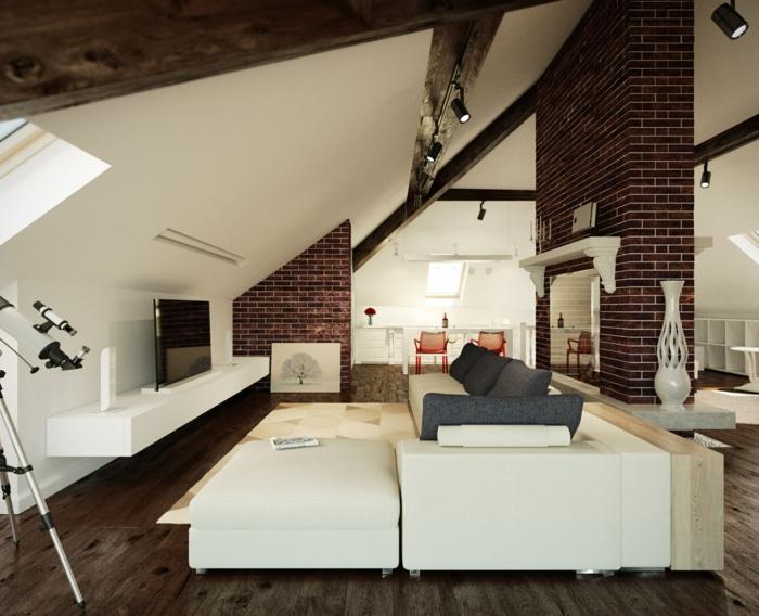 einrichtungsbeispiele raumgestaltung inneneinrichter wohnideen loft stil mauer stahlmöbel schrägen