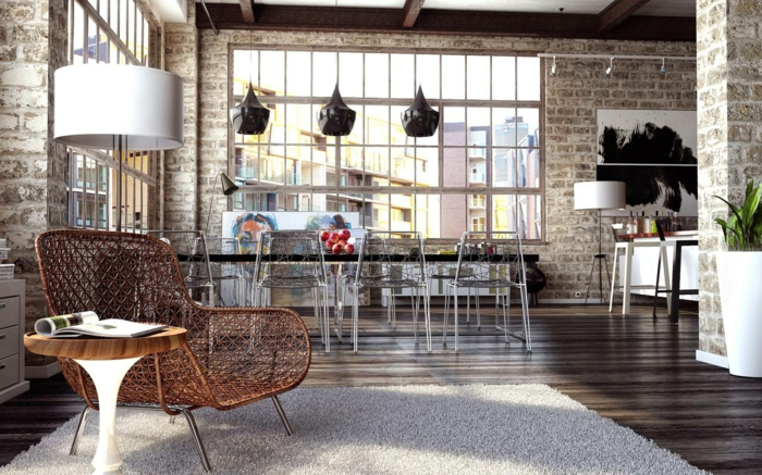 einrichtungsbeispiele raumgestaltung inneneinrichter wohnideen loft stil mauer stahlmöbel