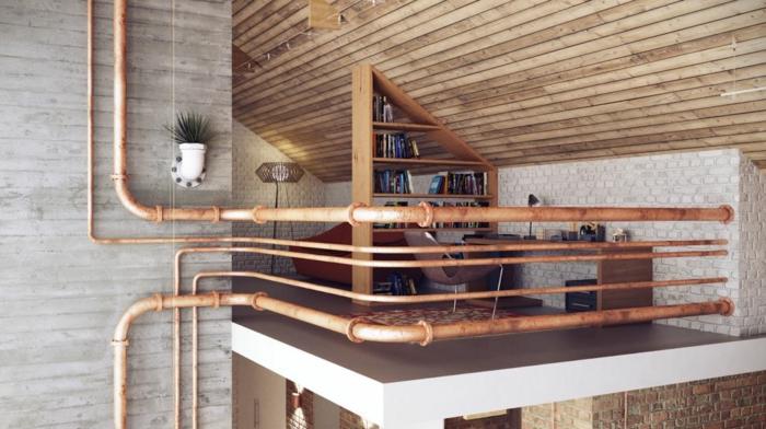 einrichtungsbeispiele raumgestaltung inneneinrichter wohnideen loft stil rosteffekt rohr
