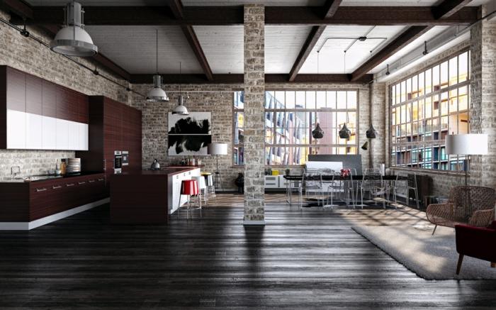 einrichtungsbeispiele raumgestaltung inneneinrichter wohnideen loft stil steinmauer
