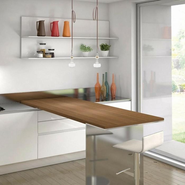 küchendesign ideen kleine küche arbeitsoberfläche weiße wände