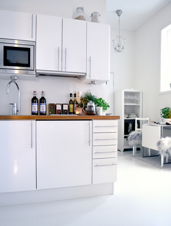 küchendesign kleine küche weißes interieur