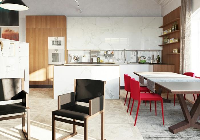 küchendesign wandpaneele kücheninsel küchentisch rote küchenstühle