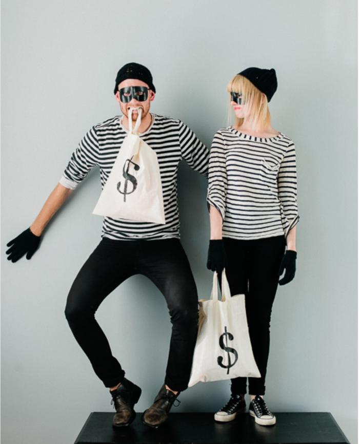 karnevalskostüme diy ideen bankräuber gestreifte oberteile masken