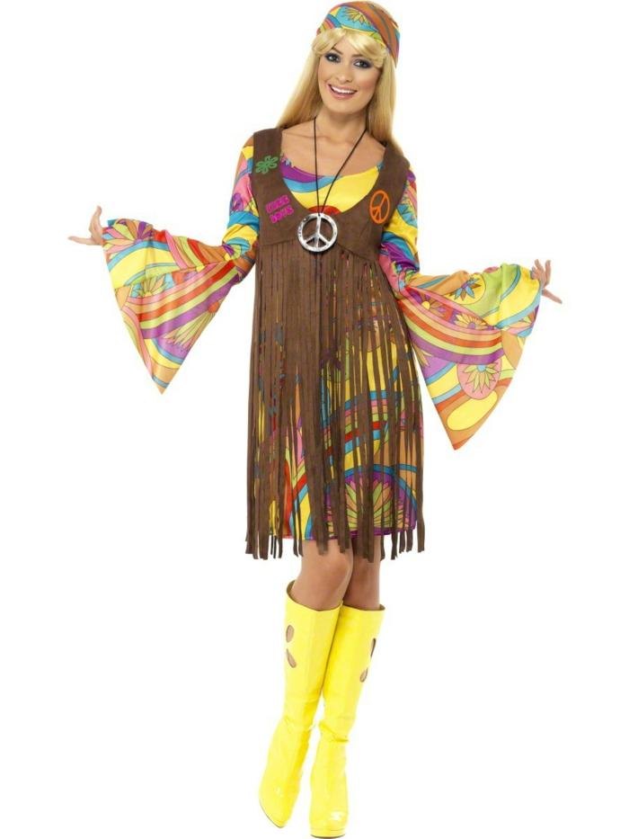 karnevalskostüme diy ideen bunt frauenkostüm hippi