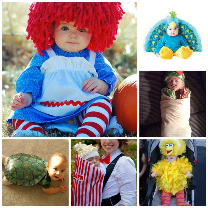 karnevalskostüme diy ideen bunt masken baby kiderkostüme