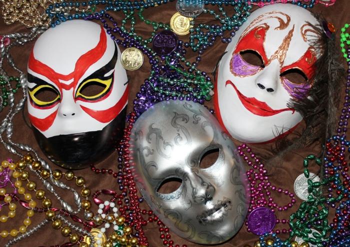 karnevalskostüme diy ideen bunt masken pailletten perlen
