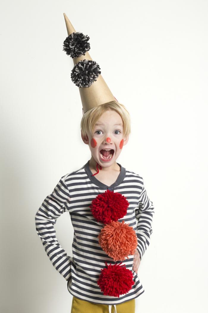 karnevalskostüme diy ideen clown hut selber machen pompons