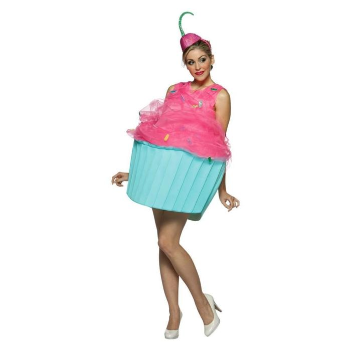 karnevalskostüme diy ideen cupcake rosa blau