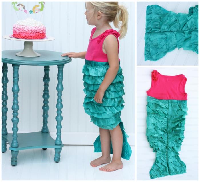 karnevalskostüme diy ideen kinderkostüm kleine jungmeerfrau blau rosa rüschen