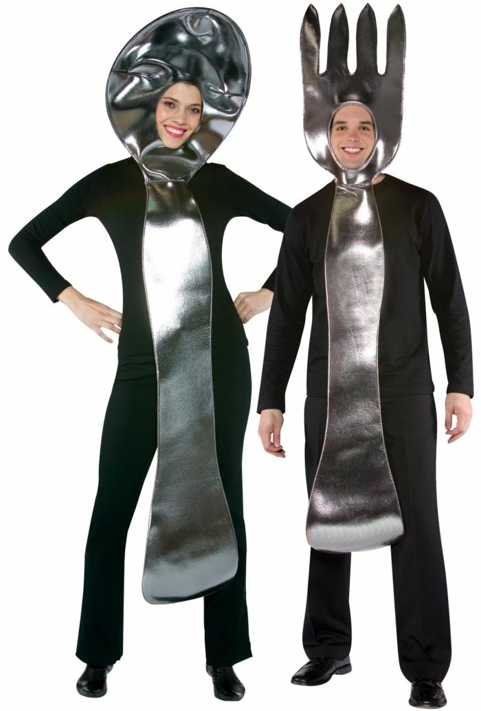 karnevalskostüme diy ideen silber schwarz faschingkostüme besteck gabel löffel