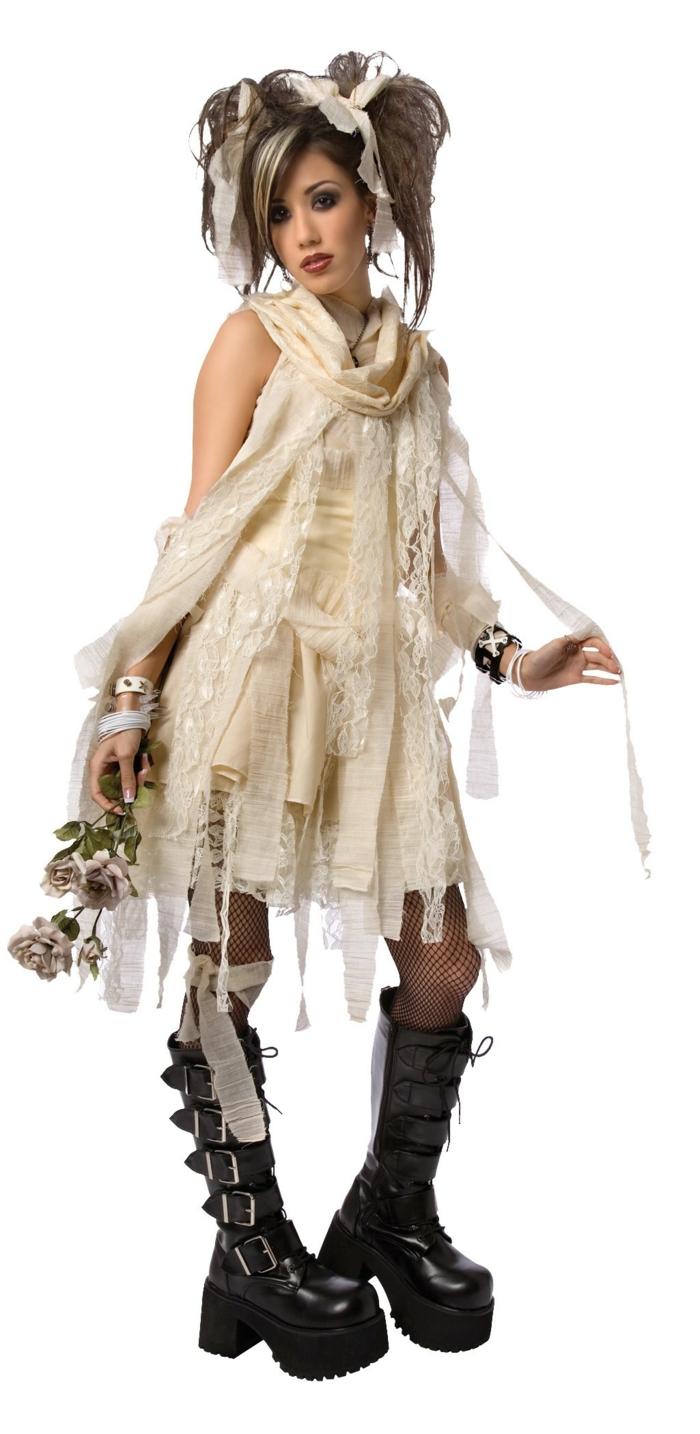 karnevalskostüme diy ideen weißes kleid steampunk spitze