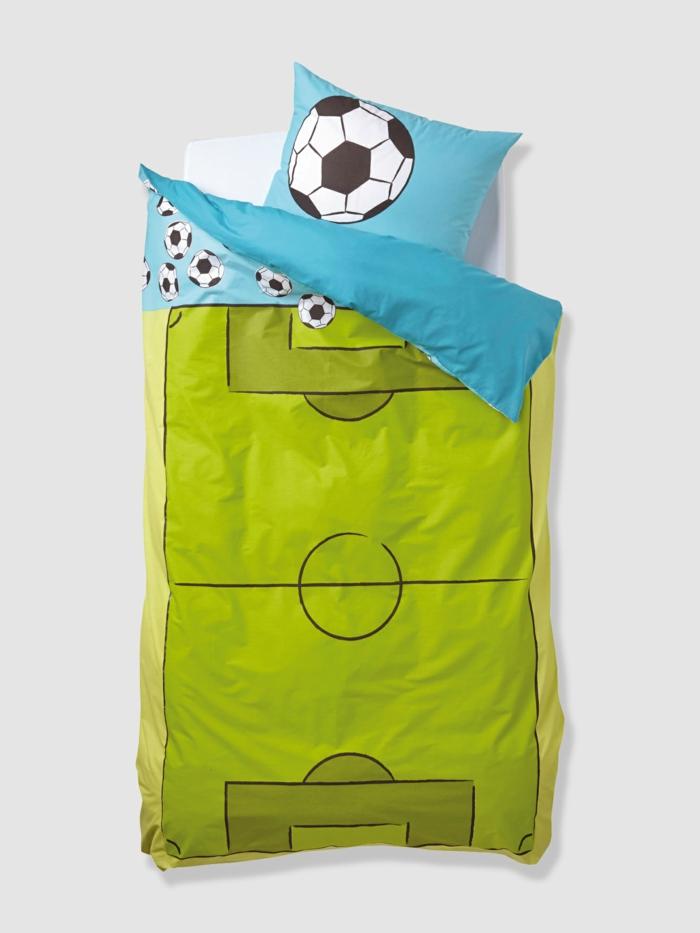 kinderbettwäsche bettbezug jungen fußball grün blau
