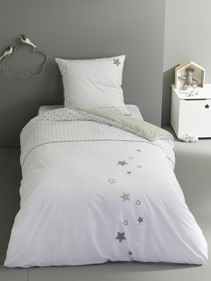 kinderbettwäsche bettbezug jungenbettwäsche mädchenbettwäsche grau weiß sterne