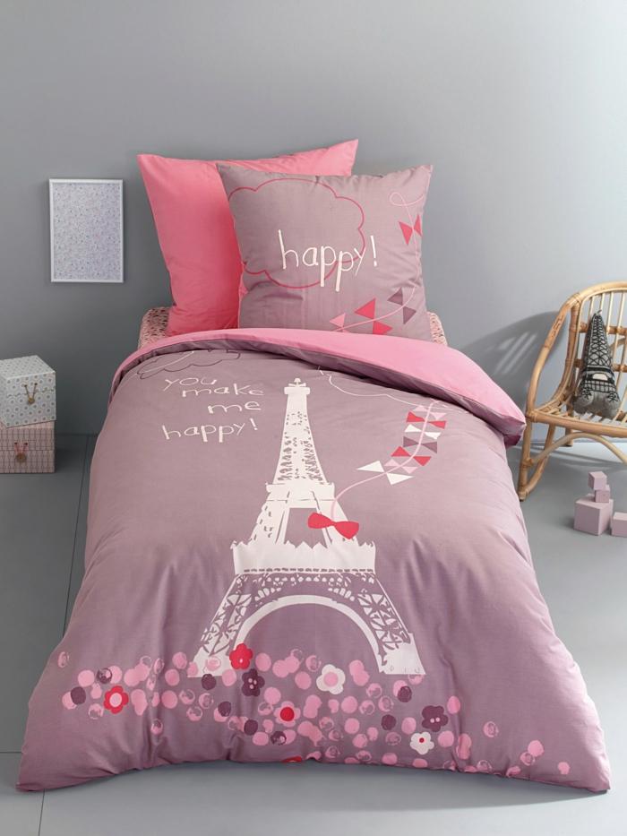 kinderbettwäsche mädchen rosa lila paris eifelturm