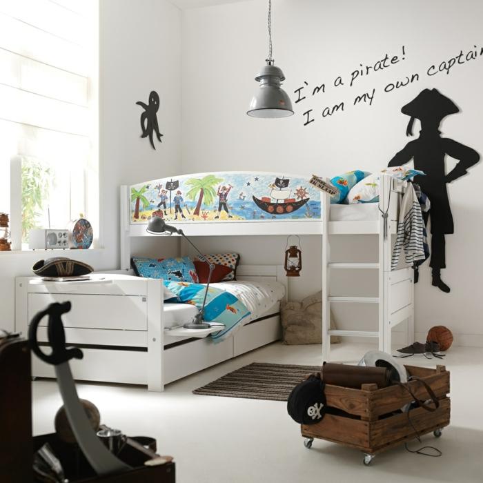 kinderzimmergestaltung jungenzimmer gestalten hochbett weiße kinderzimmerwände