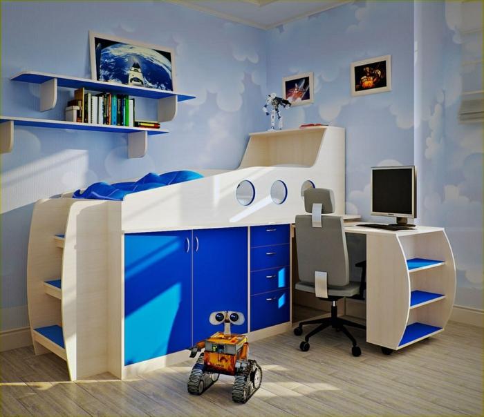 kinderzimmergestaltung kinderhochbett treppen schubladen blaue akzente schöne wandgestaltung